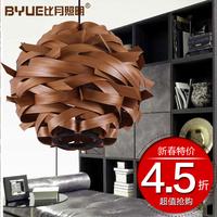 Lighting lamps natural veneer lamp chinese style bird's-nest pendant light 2362
