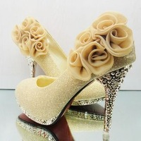 Free shipping!wedding / banquet / dance / party rose High-heeled shoes/pumps lady's women's red gold pumps high heels boots