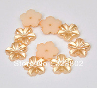 12MM Flatback Cabochon Acrylic Gold Coffee Flower for Cell Phone Case DIY Handmade Decoration Accessory 200PCS