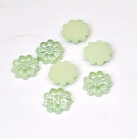 13MM Flatback Cabochon Acrylic Light Green Pearl Sunflower for Cell Phone Case DIY Handmade Decoration Accessory 200PCS