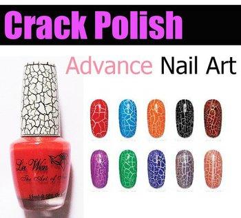 12 pcs/lot 0.5oz,15ml 20 colors Crack Nail Polish Crackle/fissure/flaw/Shatter for Nail Art