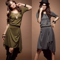 2013 New Arrival Women's Pure Color Irregular Length Beach dress,Free Shipping