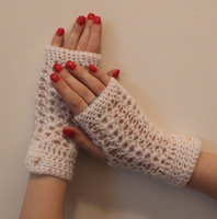 White Crochet Wedding, soft cotton Fingerless Gloves Mitten fashion accessory, party glove, wholesale 2 pair/lot