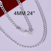 Hot! free shipping wholesale 925 silver necklace, 925 silver fashion jewelry 4mm Necklace-24 inches N132-24