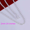 Hot! free shipping wholesale 925 silver necklace, 925 silver fashion jewelry Shine Twisted Line 2mm 24 inches Necklace N226-24