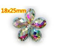 Tearshape Acrylic Sew On Rhinestone Flatback Droplet Sewing Buttons 18x25mm AB color  200pcs/lot