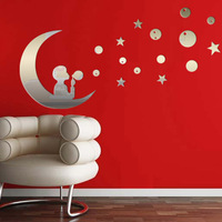 Hot sell mirror decorative wall sticker,moon boat,15.75*15.75inch,wall art backdrop,kids room decoration,free shipping