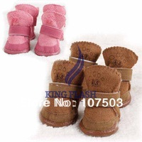 Hot Selling Autumn And Winter Lovely Warm Dog Shoes Cotton Pet Shoes Snow Boots 2Colors 5Sizes Free Shipping 9361