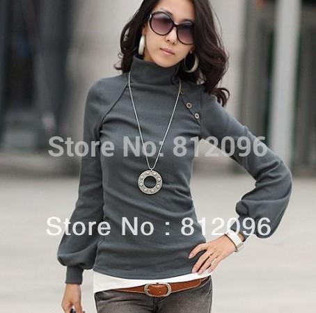 2014 new fashion plus size women clothing t shirt punk sexy tops tee clothes T-shirt Sexy High collar lantern long sleeve(China (Mainland))