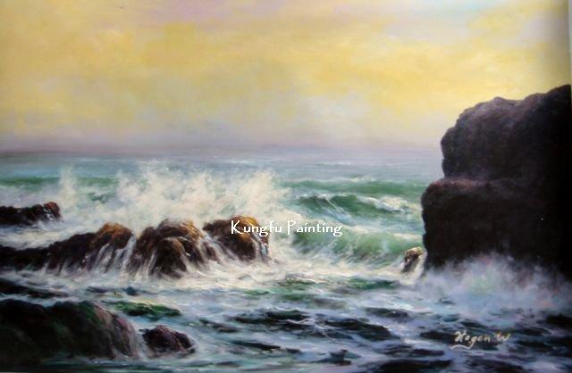 100% pintado à mão de alta qualidade lona ondas do oceano pintura a óleo quadros na parede da parede da arte da lona decoração presente original(China (Mainland))