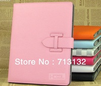 Free Shipping Leather Case Protective Cover House Shell Bag with stand for the new iPAD 2/3/4 +screen protective film gift