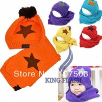 Autumn winter Unisex Wool children's hat scarf set star print baby hats free shipping 8049