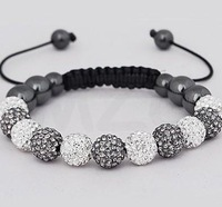Discount!White And Gray Best 10mm Crystal Beads Shamballa Bracelet.0p Wholesale Free Shipping Rhinestone Jewelry Hotsale Gift