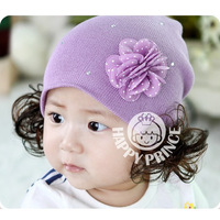 LOWEST PROMOTION New year gift flower baby hair accessory knitted child wig pocket hat autumn and winter baby hat