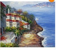 product Lake Como Italy Town Homes Flowers Boats Church 20X24 Oil On Canvas Painting Art