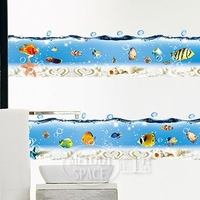 IFree shipping  I home  wall stickers tropical bathroom tile waistline glass sticker a917