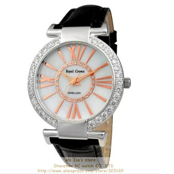 Wholesale 2013 new promotion Royal crown 6116 mother of pearl dial black genuine leather strap fashion lady' watch free shipping(China (Mainland))