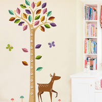 Free shipping  I home Height wall stickers multicolour cartoon child real animal height stickers