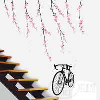 the third generation wall stickers flower bicycle wall stickers TC2048