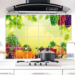 Wall stickers fruit aluminum smoke tile greaseproof paper d019 plus size paragraph(China (Mainland))