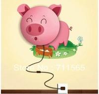 Free Shipping DIY Paper Wall Lamp Cartoon Atmosphere Light Novelty Wallpaper Lamp Pink Pig