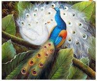 azul e branco par pavão no jardim do pássaro da arte 20x24 esticado da pintura a óleo