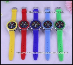 New Year Best Gife wholesale Sports Watches colorful Big Numbers unisex jelly silicon watch,10 colors,Free Shipping(China (Mainland))