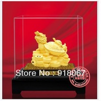 YZ-R033 24K gold craft/ Gold Handicraft/corporate gift/Rare China FengShui gold  Dragon Turtle STATUES