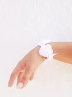 Wedding white crochet flowered Bracelet with satin ribbon and bead ,wriststrap,headband,collar 6pcs/lot