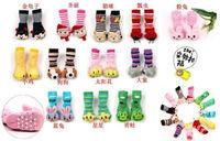 Min Order $10(mixed order) Retail Children's terry socks / cartoon towel socks / animal head toy stocking 3 pairs/lot