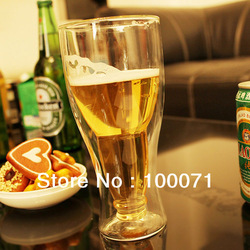 Creative Gift Shot Double Wall Beer Drinking Glass Winebottle Cup Mug Barware [25300|01|01](China (Mainland))