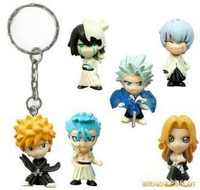 Bleach set of 6 Hitsugaya Toushirou whole sales key ring Keychain 4.5cm PVC paper box anime action figure toy doll gift