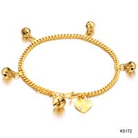 wedding party fashion Accessories jewelry bride 18k gold plated chain heart bell women's bracelet ks172