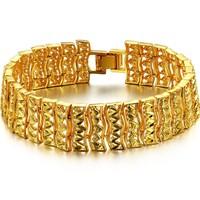 women wedding party fashion Accessories jewelry bride width 8k gold plated decorative pattern hand ring bracelet  bangle ks363