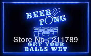 BB052 B Beer Pong Get Your Balls Wet LED Light Sign