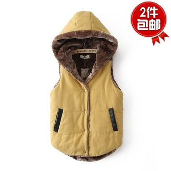 Women's vest new arrival fashion all-match coral fleece thickening with a hood vest cotton thickening vest