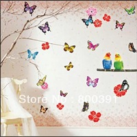 5pcs per lot Free Shipping TC940 Butterfuly sticker wall sticker ,wall decal ,room sticker for bird stickers size33*60cm