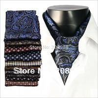 Hot Sale! High quality silk print men's cravat tie fashion silk ascot tie with gift box #1446 + Free Shipping
