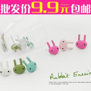 Ordem mínima é de $15 pequenos acessórios multicor garanhão coelho pintura multicolor brincos para mulheres senhora menina(China (Mainland))