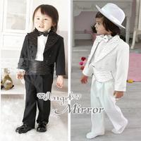 Hot selling!!!Boy's party suits white black Boy's formal performace set gentlemen wedding boy's suits 5pcs/suit children suit