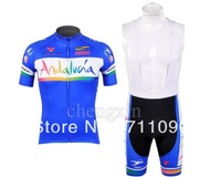 Free shipping!New 2012 Andalucia blue short sleeve cycling jersey and bib shorts set/bicycle clothes/Ciclismo jersey/bike wear