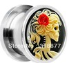 Steel Red Rose Skeleton Cameo Screw Fit ear plugs body piercing jewelry flesh tunnel free shipping mix gauges