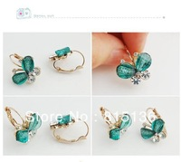 Min.order is $12 (mix order) Free Shipping Korean Style Fashion Wings Rhinestones Green Bow Butterfly Earrings(Green)