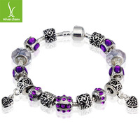 Free Fast Shipping European Style 925 Silver Charm Bracelets With Murano Glass Bead Silver Fashion Man jewellery PA1395