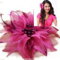 Dance hair accessory hair accessory child feather corsage big flower bride hair accessory hair accessory wrist length flower