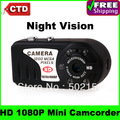 HK Post Free Shipping T8000 New HD 1080P Night Vision Mini Camcorder Thumb DV Camera Recorder