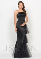 12P030 Strapless Tiered Tulle Velvet Mermaid Prom Gorgeous Elegant Luxury Unique Brilliant Evening Dress Girls Party Dress