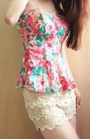 2012 summer fashion sexy big flower skirt spaghetti strap vest top free shipping