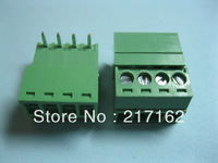 15 Pcs Per Lot Angle 4pin/way Pitch 3.81mm Screw Terminal Block Connector Green Color Pluggable Type with angle pin HIGH Qaulity