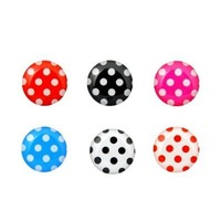 6 Pieces Polka Dot Pattern Home Button Sticker Compatible with Apple iPhone 4S for iphone 5